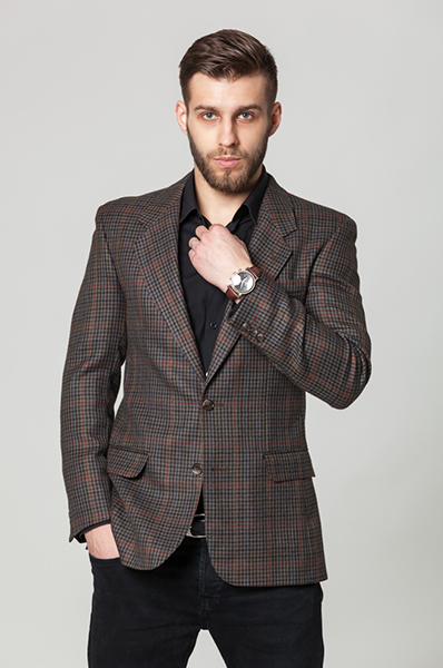 Check Wool Suit Blazer1