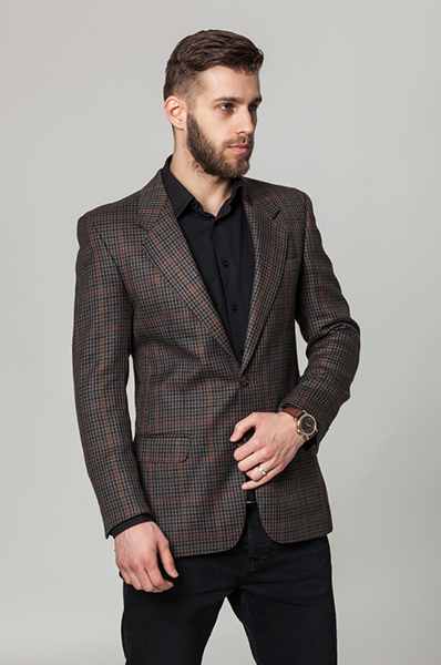 Check Wool Suit Blazer3